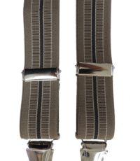 Dobrefa extra lange bretels beige en bruine lengte streep