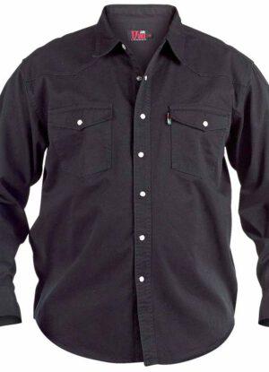 Duke grote maat spijker overhemd lange mouw zwart