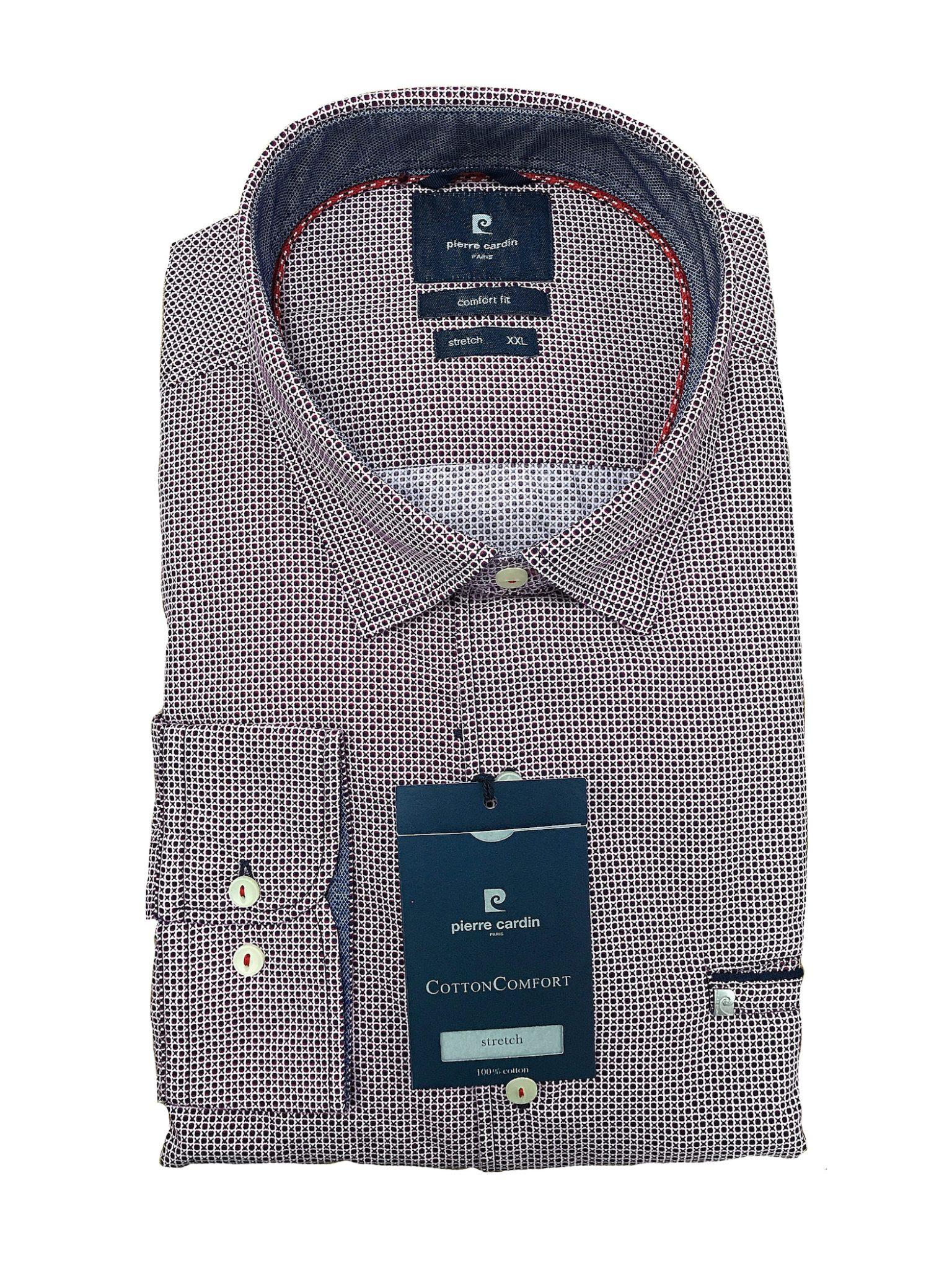 Overhemd Op Maat.Pierre Cardin Overhemd Grote Maat Donkerrood Fantasie Motiefje Stretch