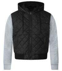 D555 grote maat vest zwart met grijze mouwen en capuchon