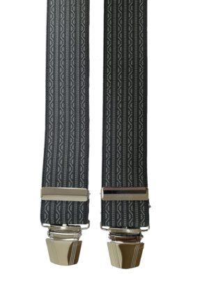 Extra lange bretels grijs en lichtgrijs motiefje