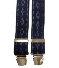 Extra lange bretels donkerblauw ruit motief glansgaren