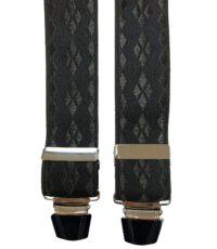Extra lange bretels zwart ruit motief glansgaren