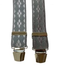 Extra lange bretels grijs ruit motief glansgaren
