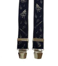 Extra lange bretels blauw met muziek instrumenten