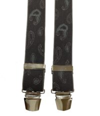 Extra lange bretels grijs paisley motiefje