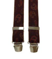 Extra lange bretels bordeauxrood paisley motiefje