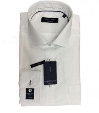 Casa Moda overhemd mouwlengte7 uni wit zwarte knoops gaatjes strijkvrij