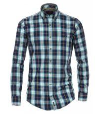 Casa Moda overhemd extra langemouw 72cm blauw petrol oker ruit