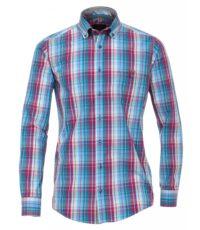 Casa Moda overhemd mouwlengte7 petrol rode ruit button down