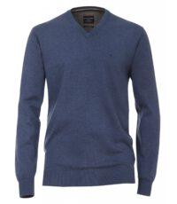 Casa Moda extra lange mouw 72cm v-hals trui blauw