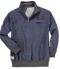 Redfield grote maat sweater polokraag rits blauw gemeleerd