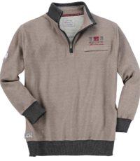 Redfield grote maat sweater polokraag rits beige gemeleerd