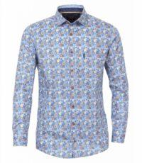Casa Moda overhemd lange mouw blauw en beige print