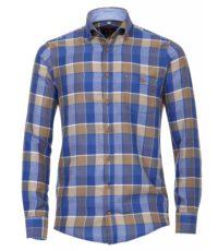 Casa Moda overhemd lange mouw blauw en bruine ruit