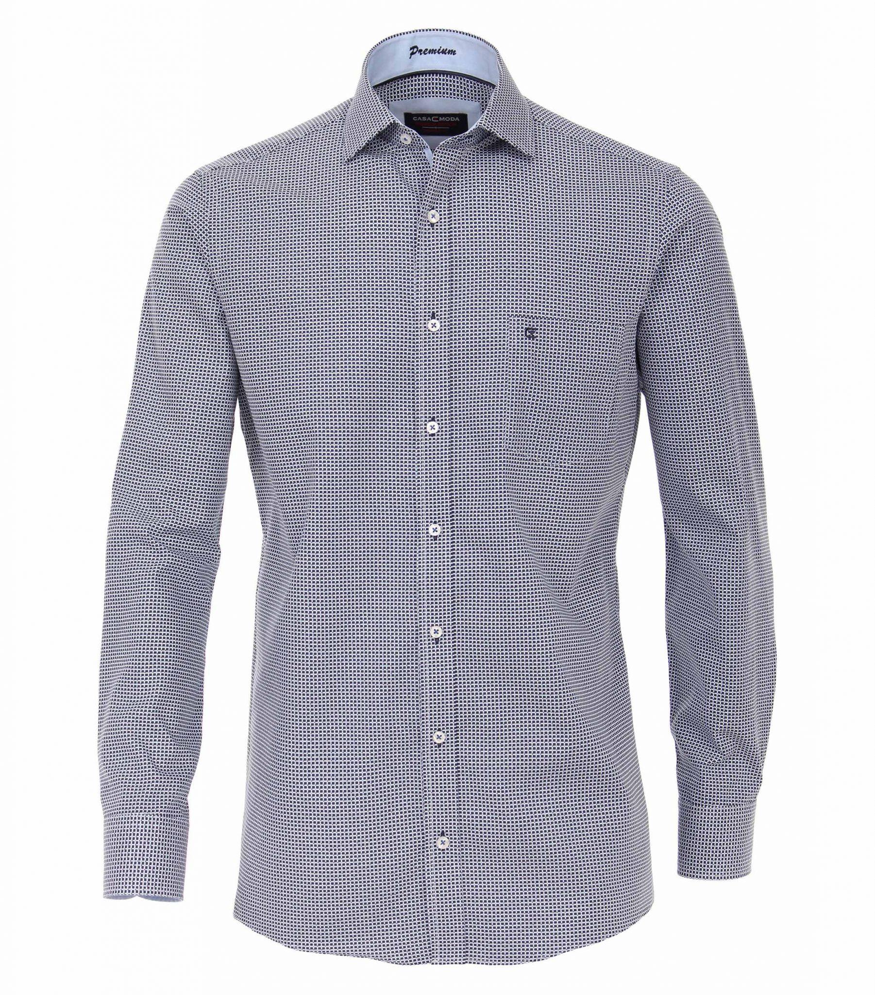 Maat Overhemd.Casa Moda Grote Maat Overhemd Lange Mouw Donkerblauw Blokje