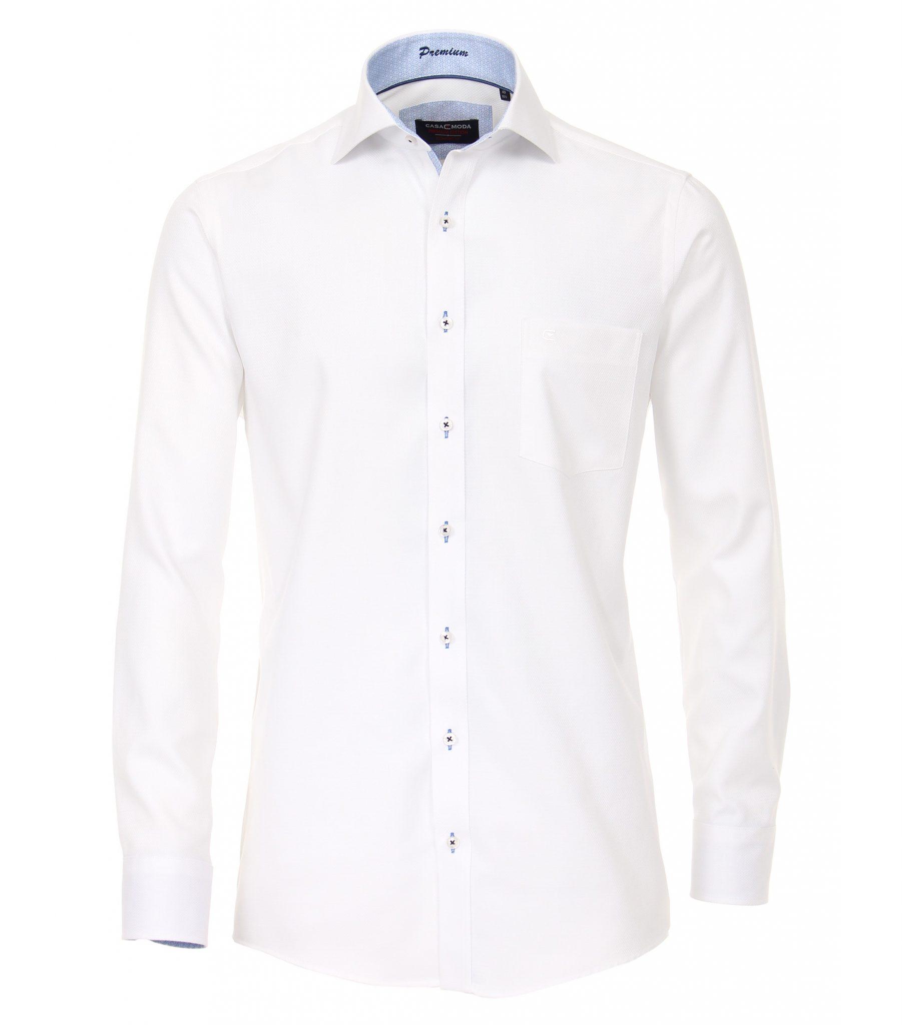 Overhemd Op Maat.Casa Moda Grote Maat Overhemd Lange Mouw Wit Structuurtje Strijkvrij