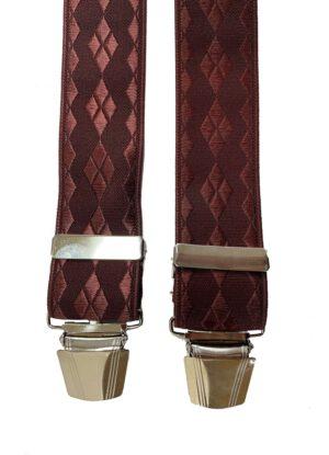 Extra lange bretels bordeauxrood ruit motief glansgaren