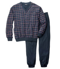 Adamo grote maat v-hals pyjama donkerblauwe ruit.