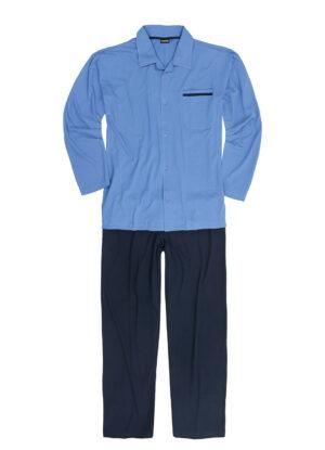 Adamo grote maat pyjama knoopsluiting blauw met donkerblauwe broek