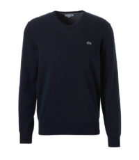 Lacoste grote maat trui v-hals donkerblauw