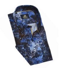 Culture grote maat overhemd lange mouw blauw fantasie patroon
