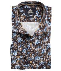 Culture grote maat overhemd lange mouw bruin en blauw bloem patroon