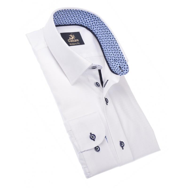 Maat Overhemd.Culture Grote Maat Overhemd Lange Mouw Wit Contrast Kraag