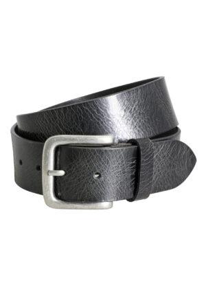 Lindenmann lederen riem 4cm breed zwart met structuurtje