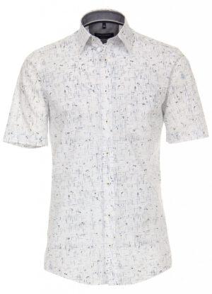 Casa Moda grote maat overhemd korte mouw wit blauw en zwart fantasie