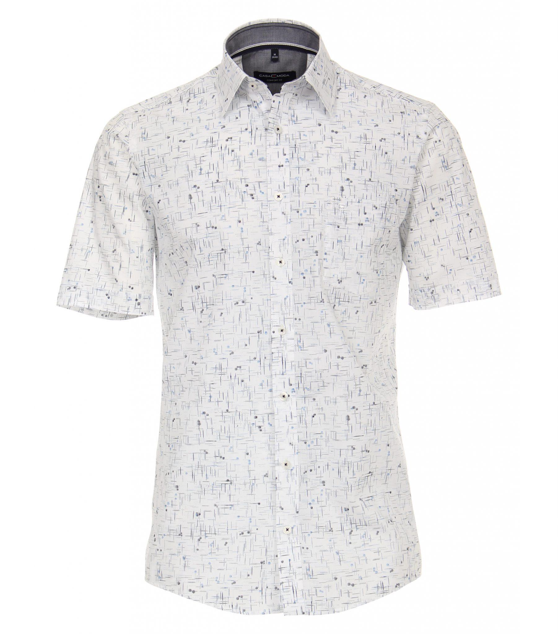 Overhemd Zwart Korte Mouw.Casa Moda Grote Maat Overhemd Korte Mouw Wit Blauw En Zwart Fantasie