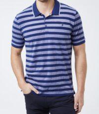 Piere Cardin grote maat poloshirt korte mouw blauw gestreept