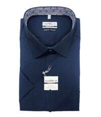 Marvelis grote maat overhemd korte mouw donkerblauw contrast strijkvrij