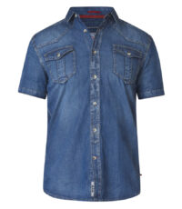 D555 grote maat denim shirt korte mouw blauw