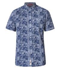 D555 grote maat korte mouw Hawaii overhemd donkerblauw