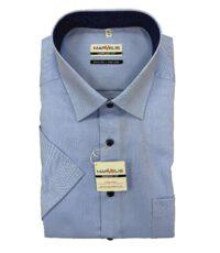 Marvelis grote maat overhemd korte mouw blauw met navy knoopjes strijkvrij