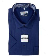 Marvelis grote maat overhemd korte mouw donkerblauw werkje strijkvrij