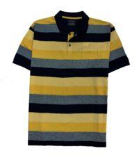 Kitaro grote maat poloshirt korte mouw blauw en gele breedte streep