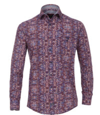 Casa Moda overhemd extra lange mouw 72cm blauw en oranje print
