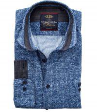 Casa Moda overhemd extra lange mouw 72cm blauwe fantasie print