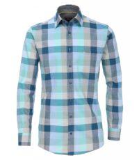 Casa Moda overhemd extra lange mouw 72cm blauw groen en beige ruit