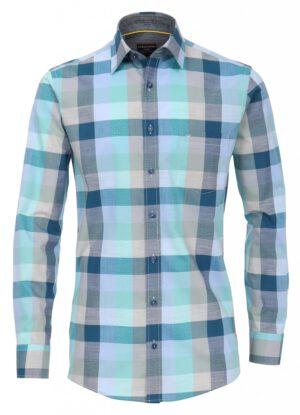 Casa Moda overhemd grote maat lange mouw blauw groen en beige ruit