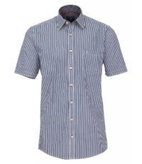 Casa Moda grote maat overhemd korte mouw blauw en wit seersucker