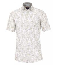 Casa Moda grote maat overhemd beige en wit bloemmotief