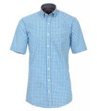 Casa Moda grote maat overhemd korte mouw blauw en witte ruit