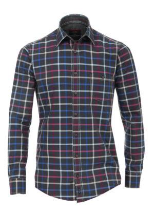 Casa Moda overhemd extra lange mouw 72cm blauw en paarse ruit