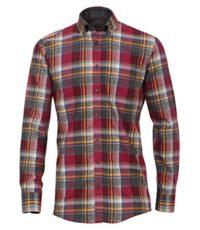 Casa Moda overhemd extra lange mouwlengte7 mouw bordeauxrode ruit flanel