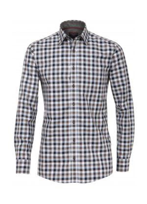 Casa Moda overhemd extra lange mouwlengte7 mouw blauw en grijze ruit