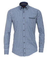 Casa Moda overhemd extra lange mouwlengte7 mouw blauw en lichtblauwe ruit