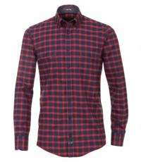 Casa Moda overhemd extra lange mouwlengte7 mouw rood en blauwe ruit